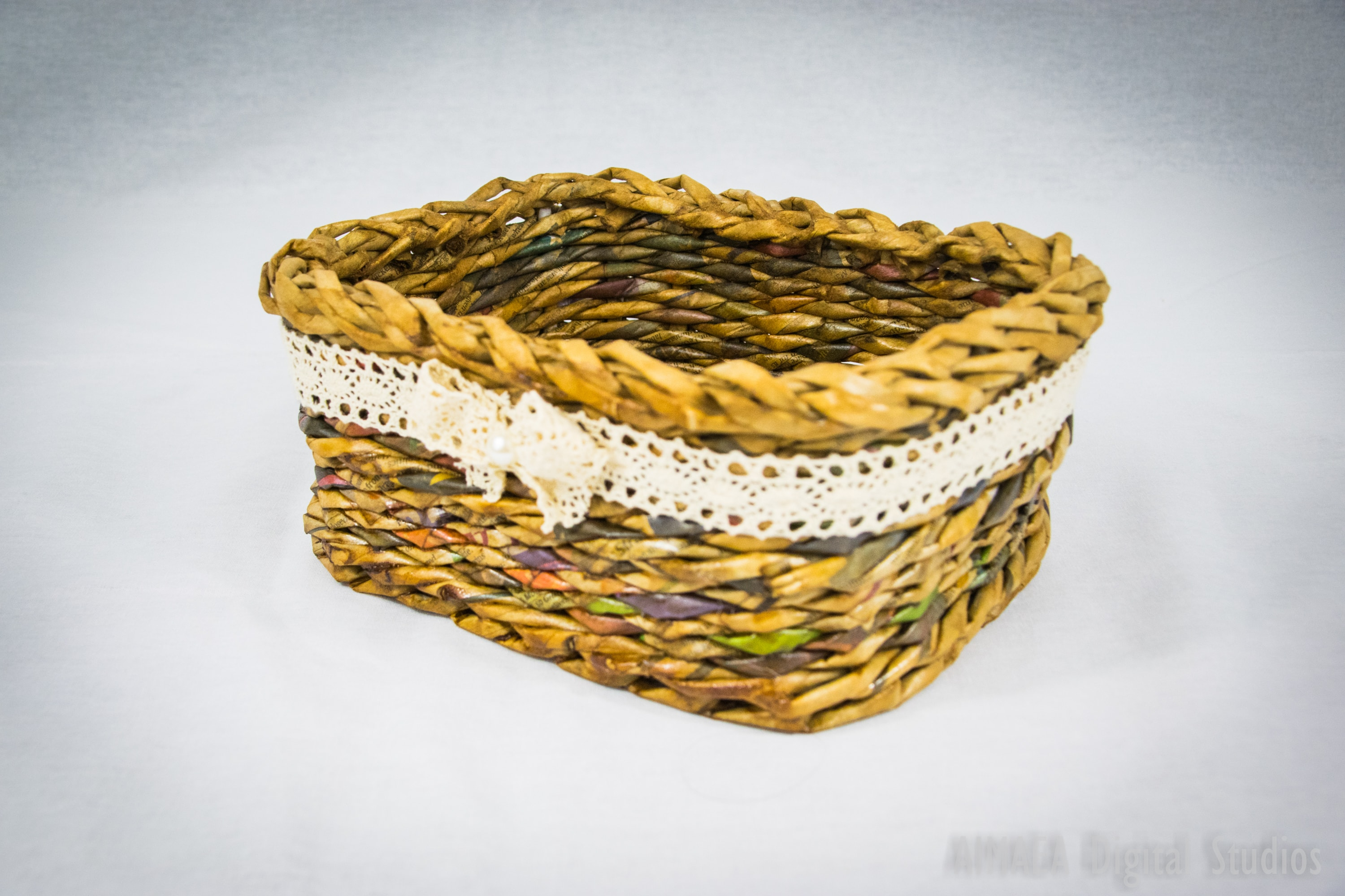 EDIGUMI Small lace brown basket