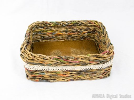 Large lace, brown basket