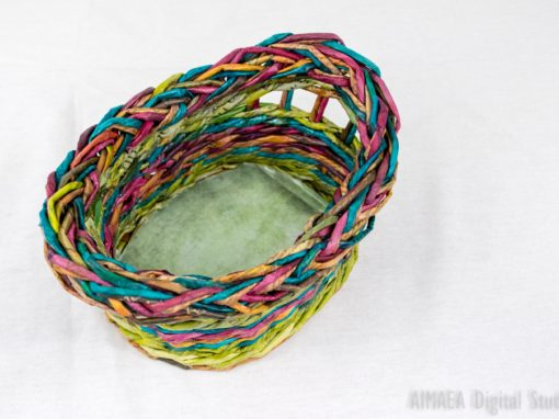Rainbow (green-pink-blue) Basket