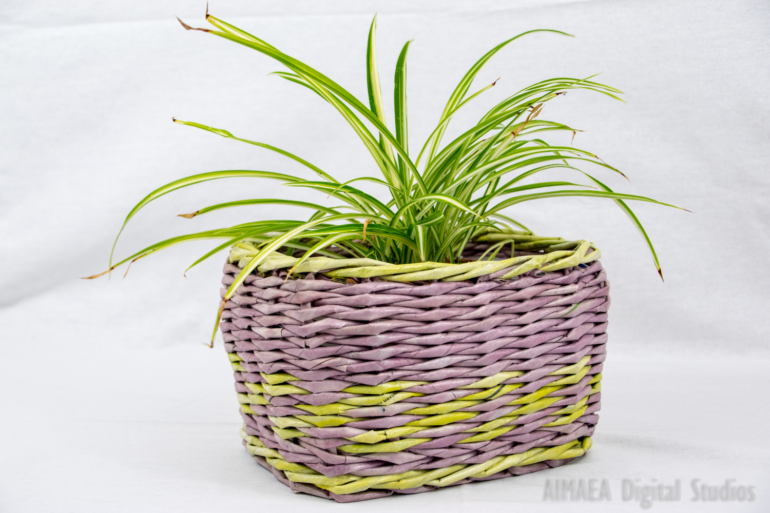 EDIGUMI Handmade plant pots vintage style purple and green