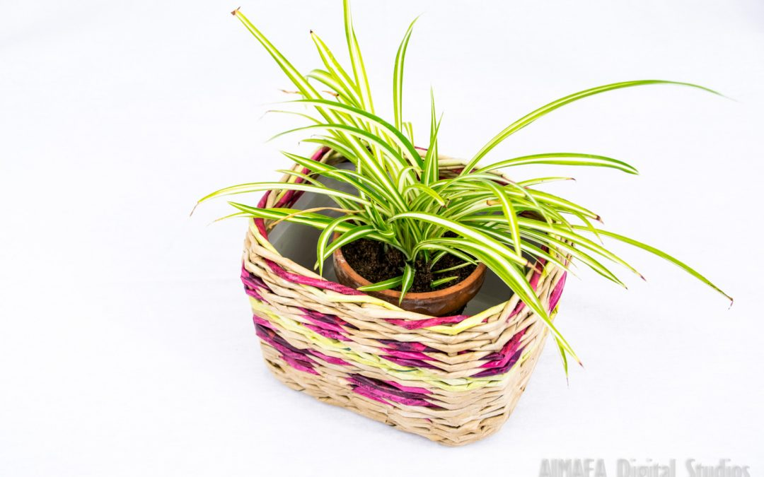Handmade plant pot vintage style brown and purple