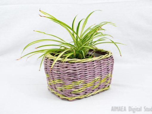 Handmade plant pots vintage style purple and green