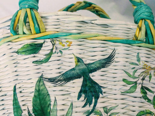 Tropical bird decorated, summery women basket